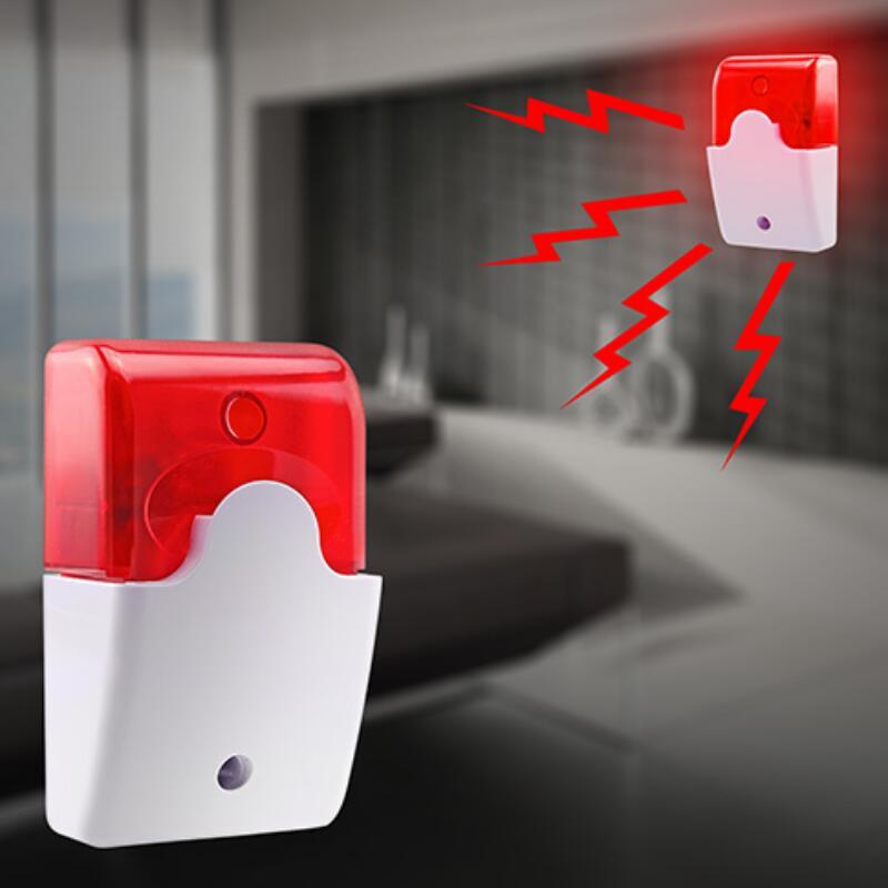 Mini Wired Strobe Siren Durable 12V Sound Alarm Strobe Flashing Red Light Sound Siren Home Security Alarm System 115dB
