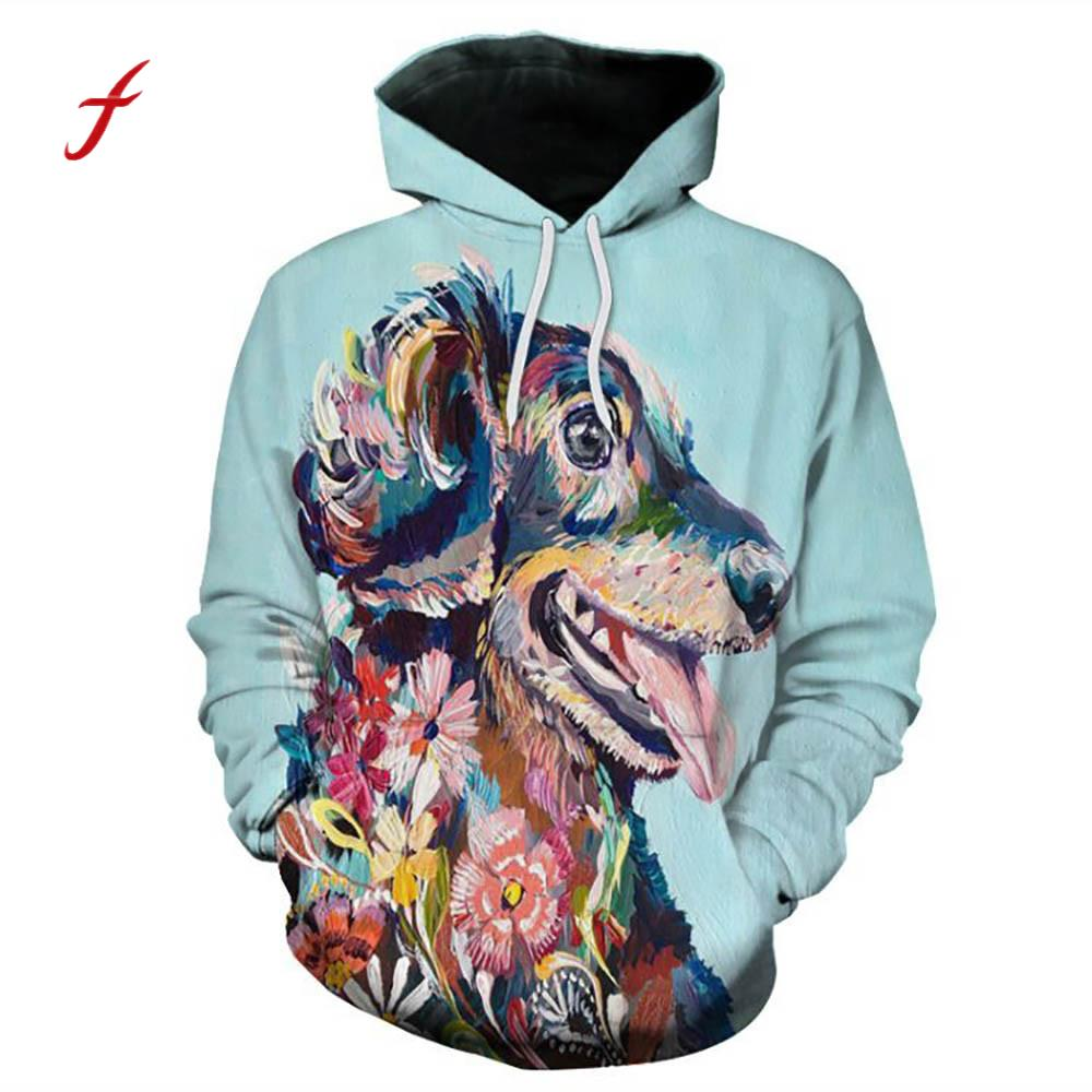 feitong Unisex 3D Animal Dog Cool Harajuku Pullover Hooded Plus Size Large Couple Women Men Sweatshirt Tops Spring Fall Clothes