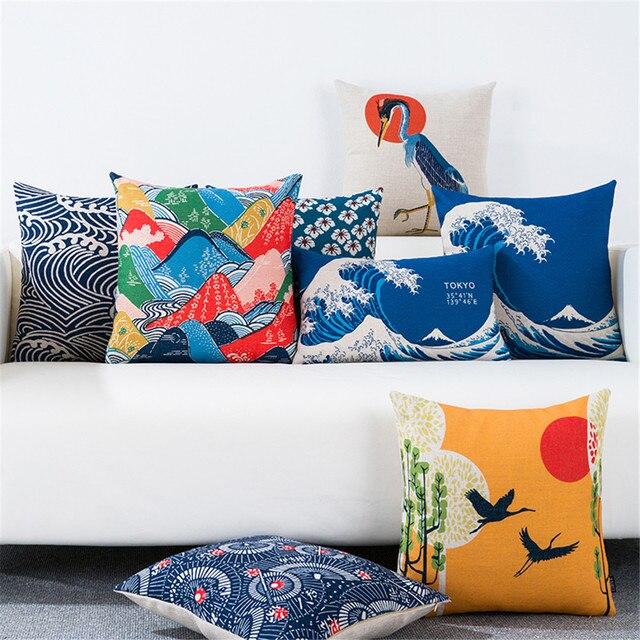Японский узор тканевый складывающийся веер ukiyoe живопись гора Фуджи хлопковая диванная подушка, подушка чехол для дивана дома