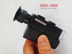AIBOULLY 7752 wysokiej powiększenie lupa 200X-240X LED Light lupa światła UV archeologiczne narzędzia identyfikacji ręczny
