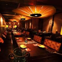 Japan Chinese Style led Wood Veneer pendant light Living Room Restaurant Dining Room hanging lighting lamp