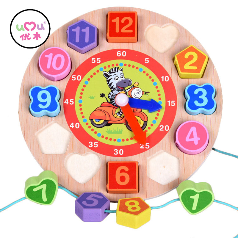 Montessori Woden Lacing Beads Puzzles Cute Zebra Animal Cartoon Educational Toys For Children Digital Wooden Clock UJ2022H baby educational wooden toys for children building blocks wood 3 4 5 6 years kids montessori twenty six english letters animal