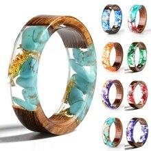 Кольцо из древесной смолы, прозрачное кольцо из эпоксидной смолы, модное свадебное ювелирное изделие ручной работы с сушеным цветком, кольцо для женщин, дизайн
