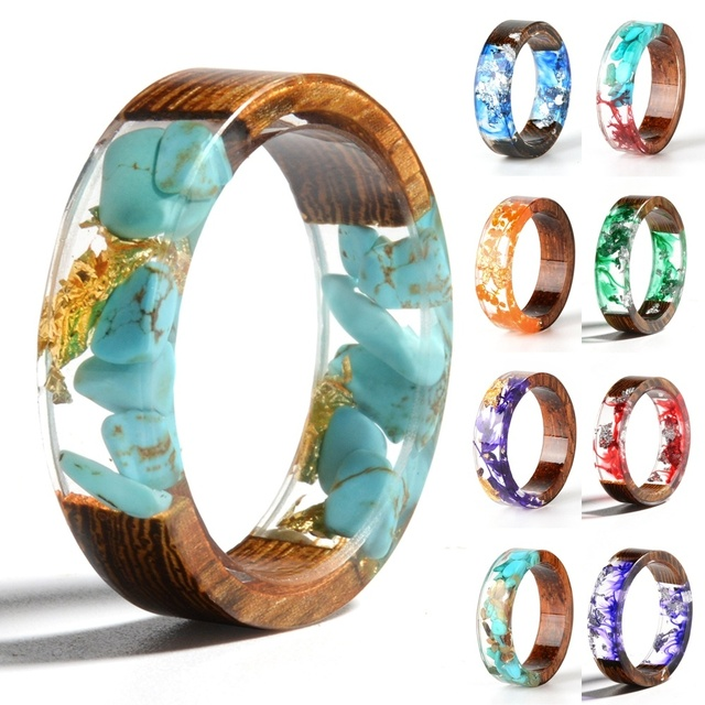New Design Colorful Rings for Women Men Clear Wood Resin Ring Vintage Party Club Handmade Dried Flower Epoxy Rings Drop Shipping