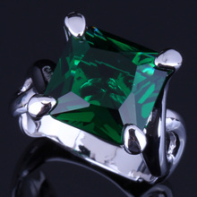Very Good Square Green Cubic Zirconia 925 Sterling Silver Ring For Women V0068