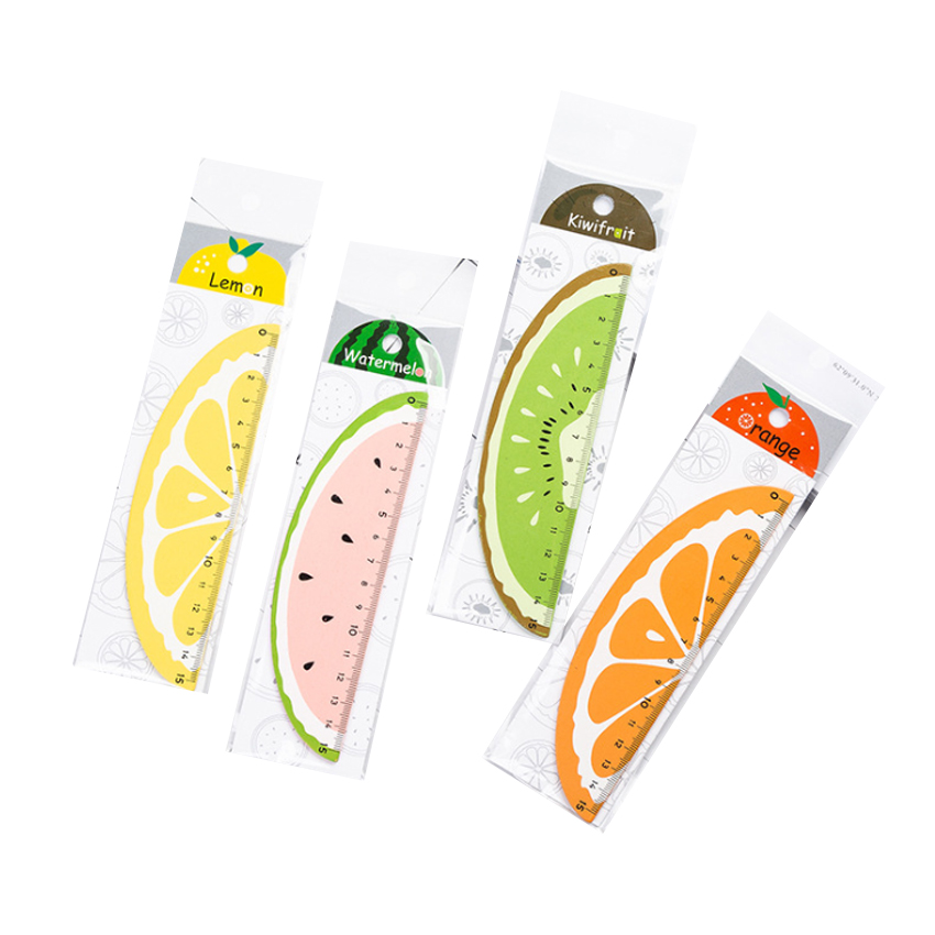 30pcs/Lot Cute 15cm Watermelon Orange Kiwi Fruit Wood Straight Ruler Gifts For School Stationery Wholesale