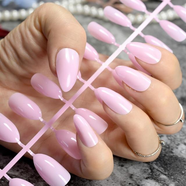 Baby Pink Stilettos Sharp False Nail Tip Sexy Nail Art Acrylic