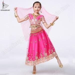 Girls Bollywood Dance Costume Set Kids Belly Dance Indian Sari Children Chiffon Outfit Halloween Top Belt Skirt Veil Headpiece(China)