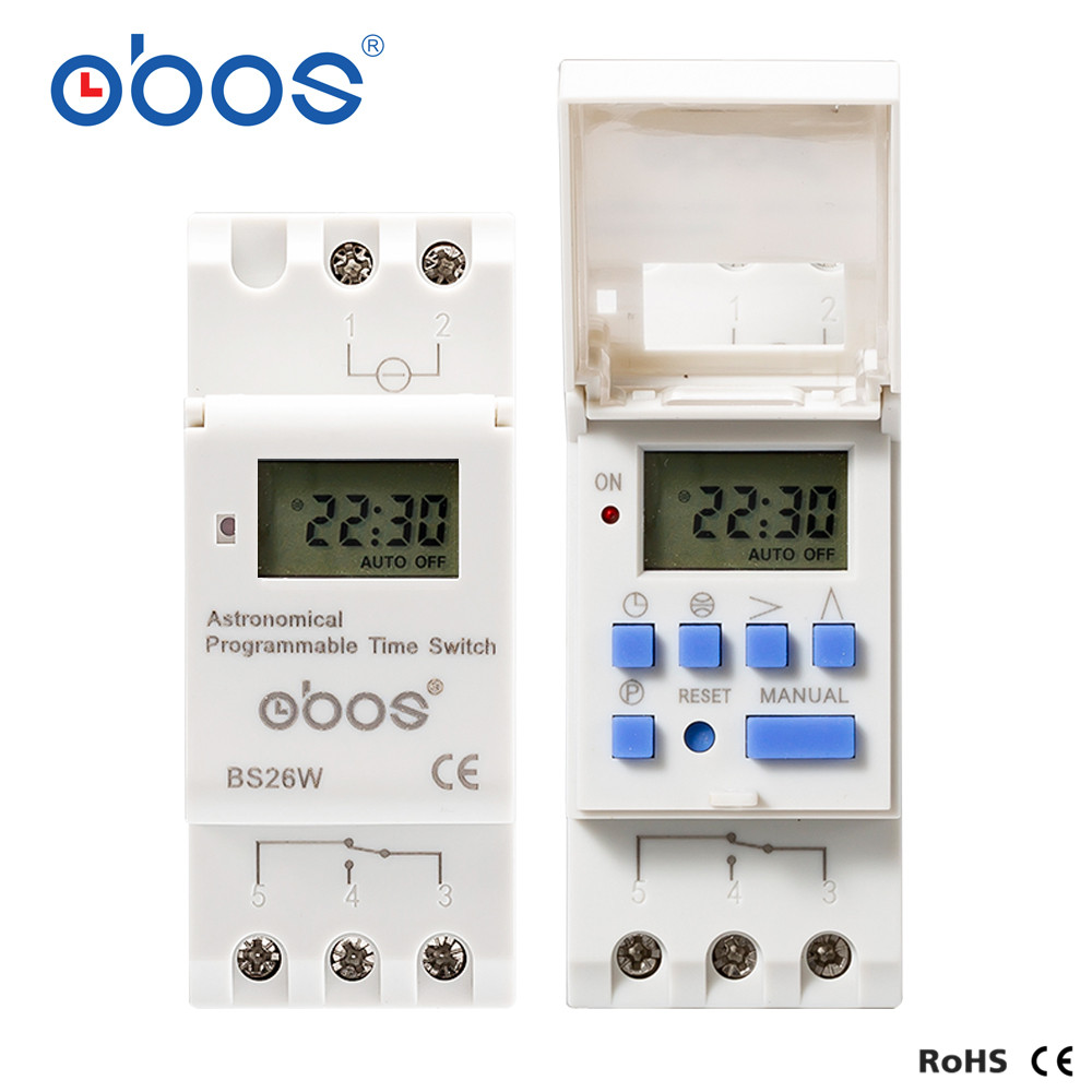 latest sunrise sunset automatic adjustment 220v timer switch with 16times on/off per day /weekly time set range 1min-168H OBOS