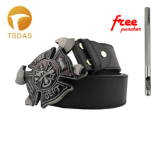 Fashion 3D FIRE DEPT Belt Buckle Suitable 3.8-4cm Wide Belt, Red Metal Men Jeans accessories
