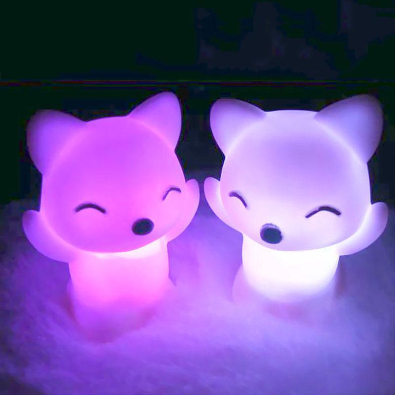 7Changing Colors Lovely Cartoon Fox Shape Night Light Festival Gift Lamp LED