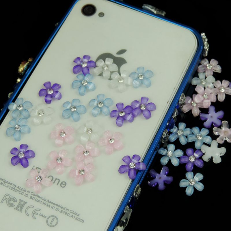 100pcs 6 color optional Flat Back Resin Flowers With Rhinestone For Diy Phone decoration /nail art /Scrapbooking 10mm 009005047