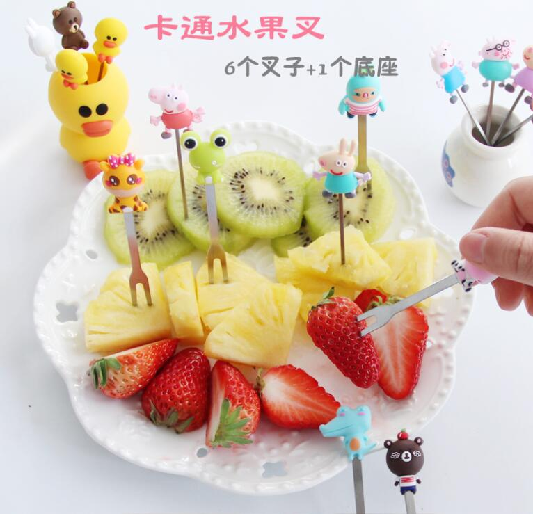 Cartoon tenedor de fruta animales set reusable resin salad toothpick kitchen accessories salad set fork