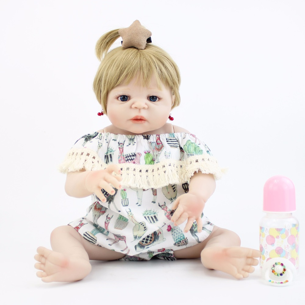 цены 55cm Full Silicone Body Baby-Reborn Blonde Doll Toys Newborn Princess Toddler Babies Alive Bebe Girls Bonecas Brinquedos Gift
