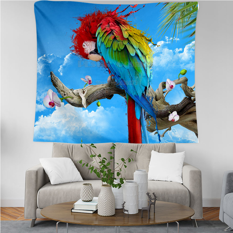 PLstar Cosmos Tapestry Parrot Flower 3D Printing Tapestrying  Rectangular Home Decor Wall Hanging New style 1