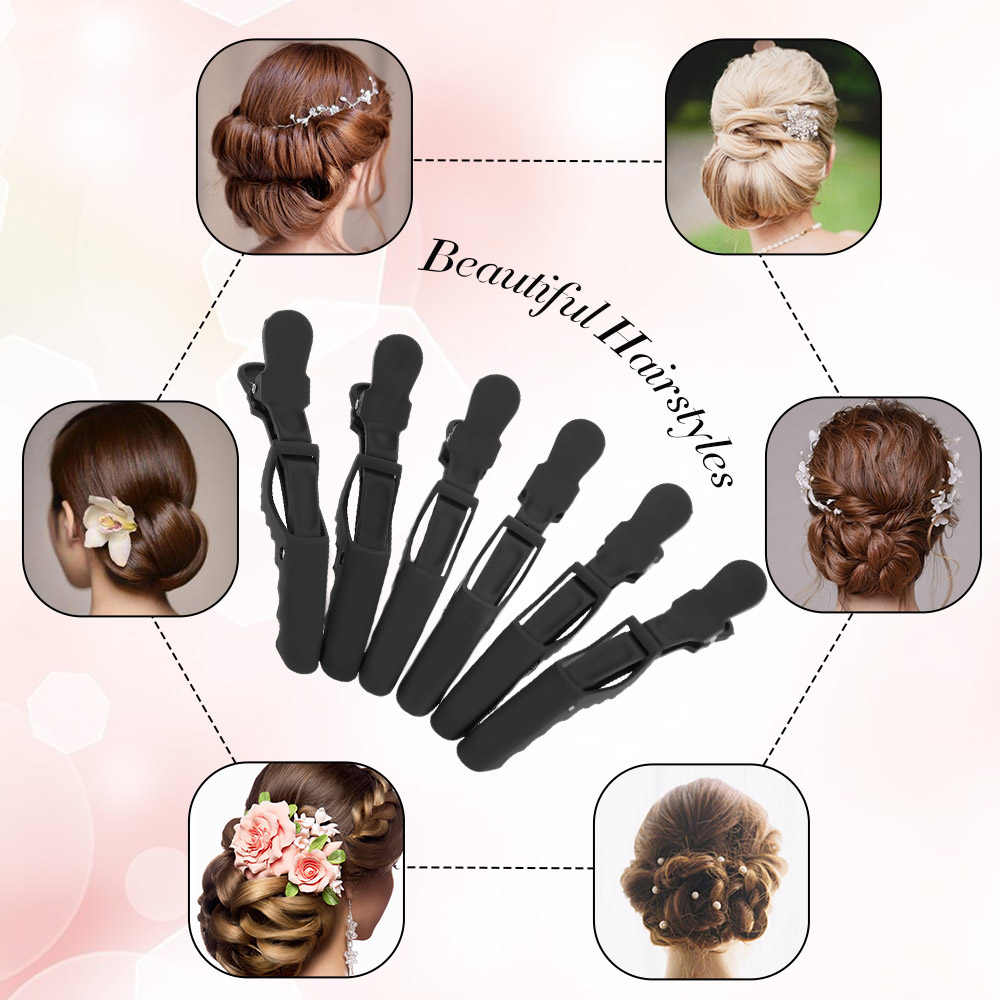 6Pcs/set barber accessories Croc Hair Grip Clips Professional Hairdressing Sectioning Clips Cutting Clamps Salon Hair Styling