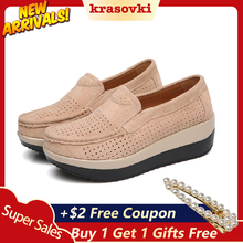 Krasovki High Platform Shoes Women Spring Autumn Slip on Creepers Sneakers moccasins Suede Loafers new sneakers For