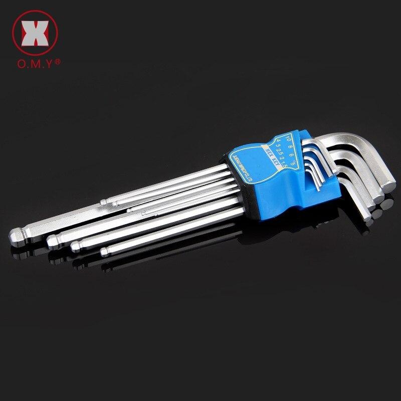 Omy 9 pces alta cromo vanádio aço l-forma hex chave ferramentas de reparo poderoso tipo allen chave conjunto de bola médio cabeça allen chave