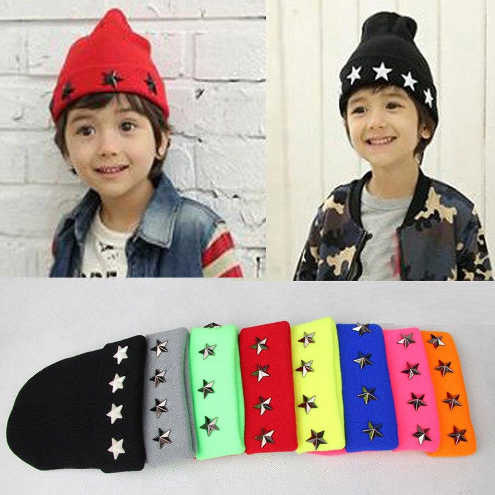 2-7T Fashion Baby Children Star Cap Warm Winter Hats Knitted Wool Hemming 15