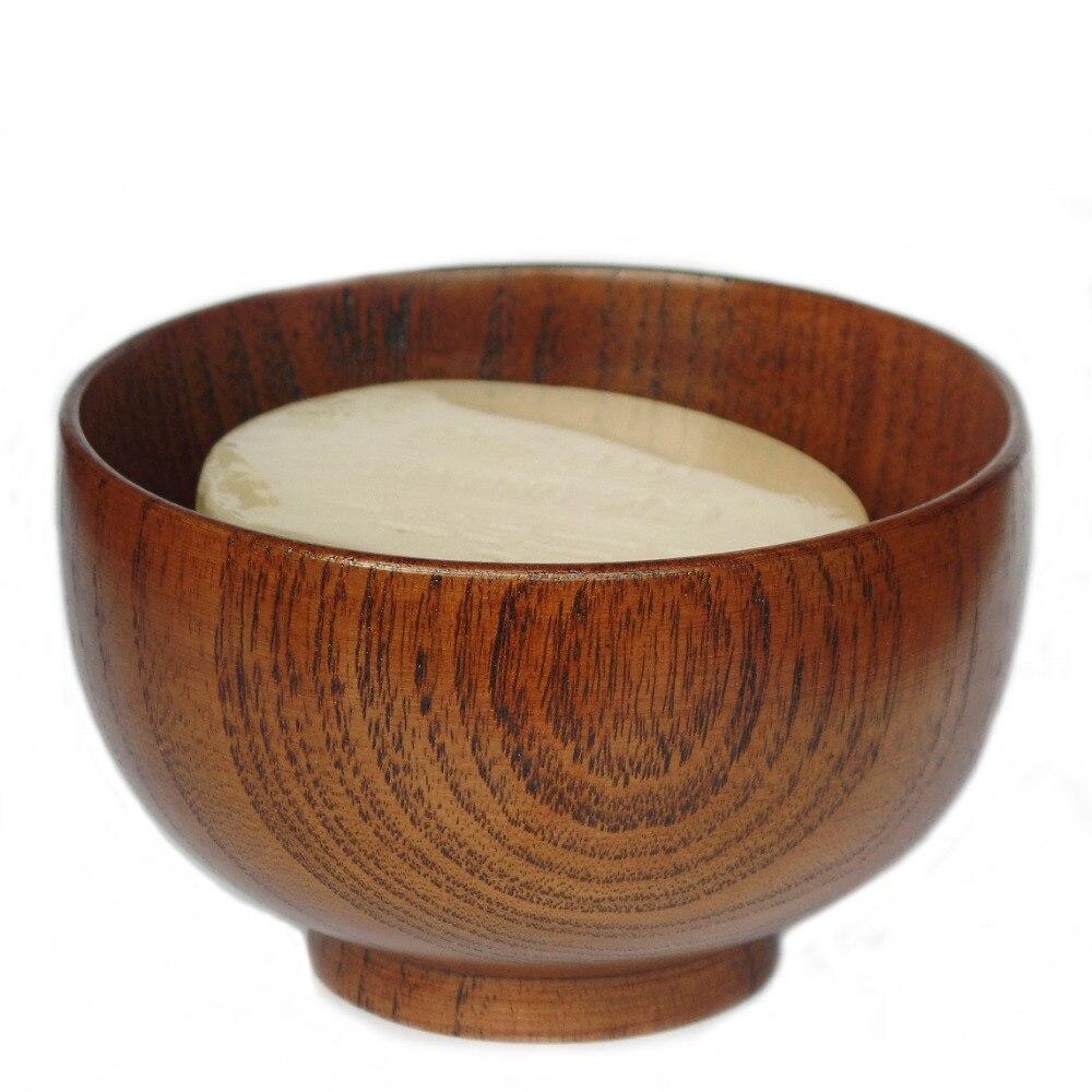 Bol de savon à raser chinois de 12 pièce/ensemble, bols en bois naturel japonais de riz et de nouilles (11.5*6.7 cm)