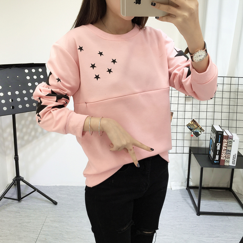 Spring maternity confined out nursing clothes fashion show thin render fleece t-shirts spot (film) burgundy cold shoulder cut out hollow splited hem back t shirts