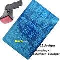 1 + 1 Selo Stamper + 1 Scraper Nail Art Stamping Kit Conjuntos de 11 Designs Polonês Imagem Modelos de Placas de Aço Stencils prego # HK01-11