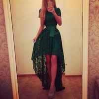 Sexy Elegant Lace Party Dress 2016 Summer Women Casual Iregular Hem Long Dresses Ladies O Neck