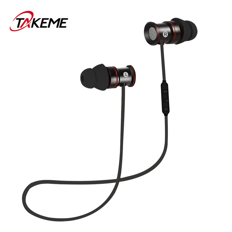 TAKEME Sport Wireless Earphone Stereo Bluetooth Earphones Music Earbuds with Mic In-ear Headsets for iPhone Sony Samsung Xiaomi
