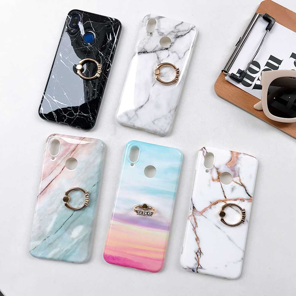 P20 Marble Case For Huawei P20 Lite Case Cover Soft Gel TPU Silicone For Huawei P20 Pro Case Kickstand Ring Buckle Cover Holde