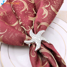 Joyathome Creative Silver Starfish Christmas Napkin Holder Rings for Weddings Holders  Acecorios Para Sevilletas