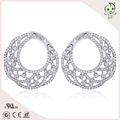 Trendy round 925 Sterling silver jewelry rhinestone zircon dangle drop earrings natural stone bridal long earrings pendientes