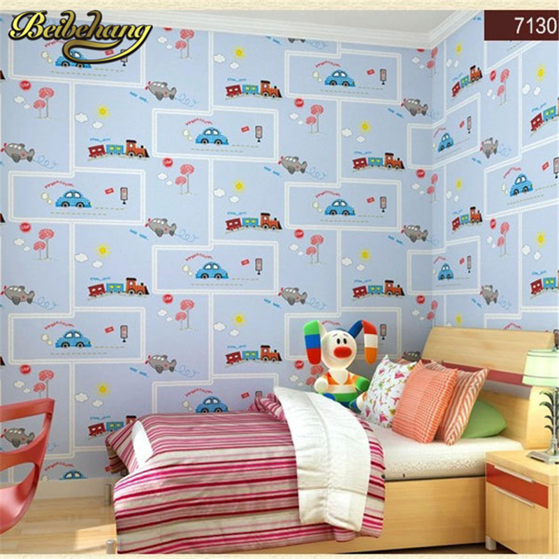 beibehang papel parede friendly Lovely Cartoon Cars Wallpapers Roll Kids Room Decoration Wall Paper roll Non-woven Boys Bedroom beibehang non woven pink love printed wallpaper roll striped design wall paper for kid room girls minimalist home decoration