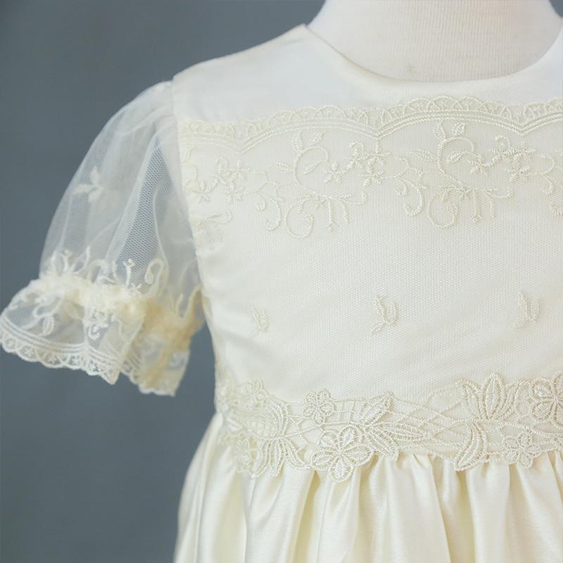 Купить с кэшбэком NIMBLE Baby Girl Dress Summer New Custom Champagne Lace Baby Clothing Short Sleeves Lace Infant Girls Dress Christening Gown
