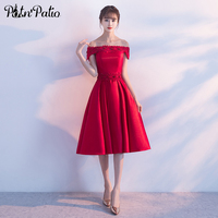 PotN Patio Boat Neck Off Shoulder Satin Beading A Line Tea Length Red Bridesmaid Dresses Long