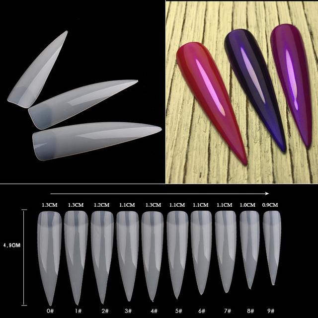 100pcs/set Fake Nail Art Tips Long Salon Stiletto Nail Tips Plastic French Salon Acrylic Nail Art False Nail Tips 3 Options
