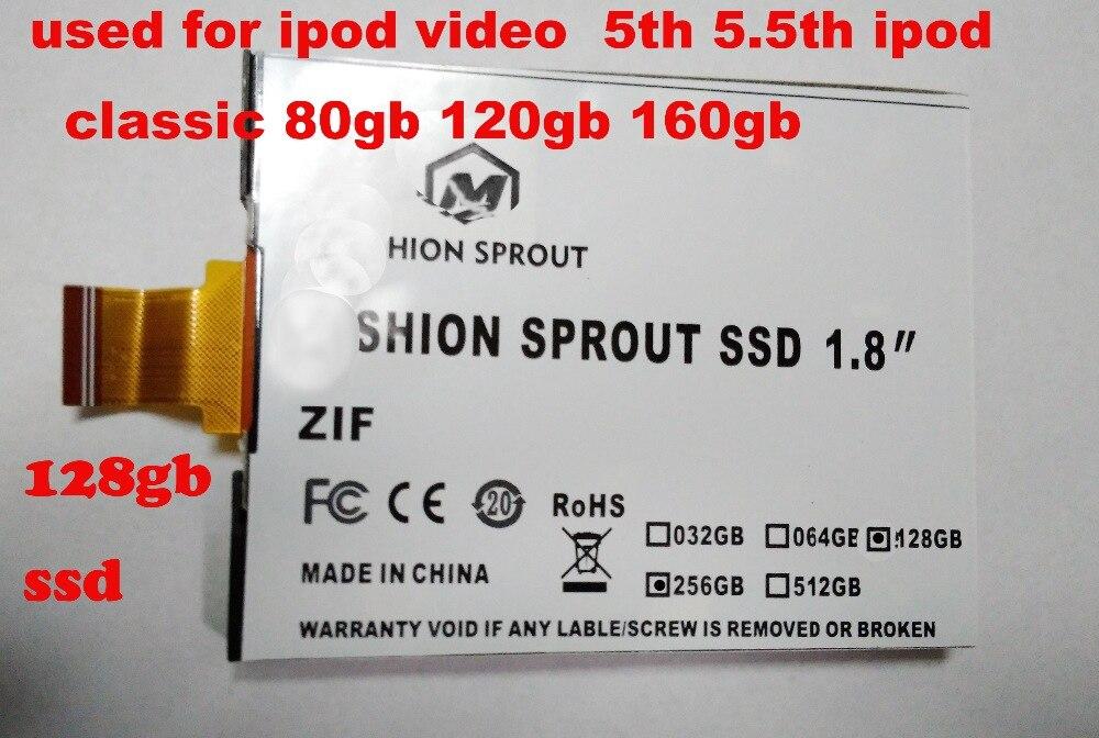 Nouveau 1.8 pouces ce/zif SSD 128 GB à semi-conducteurs pour iPod Classic 3Gen 160 GB remplacer MK1634GAL MK1231GAL HS12YHA MK8022GAA