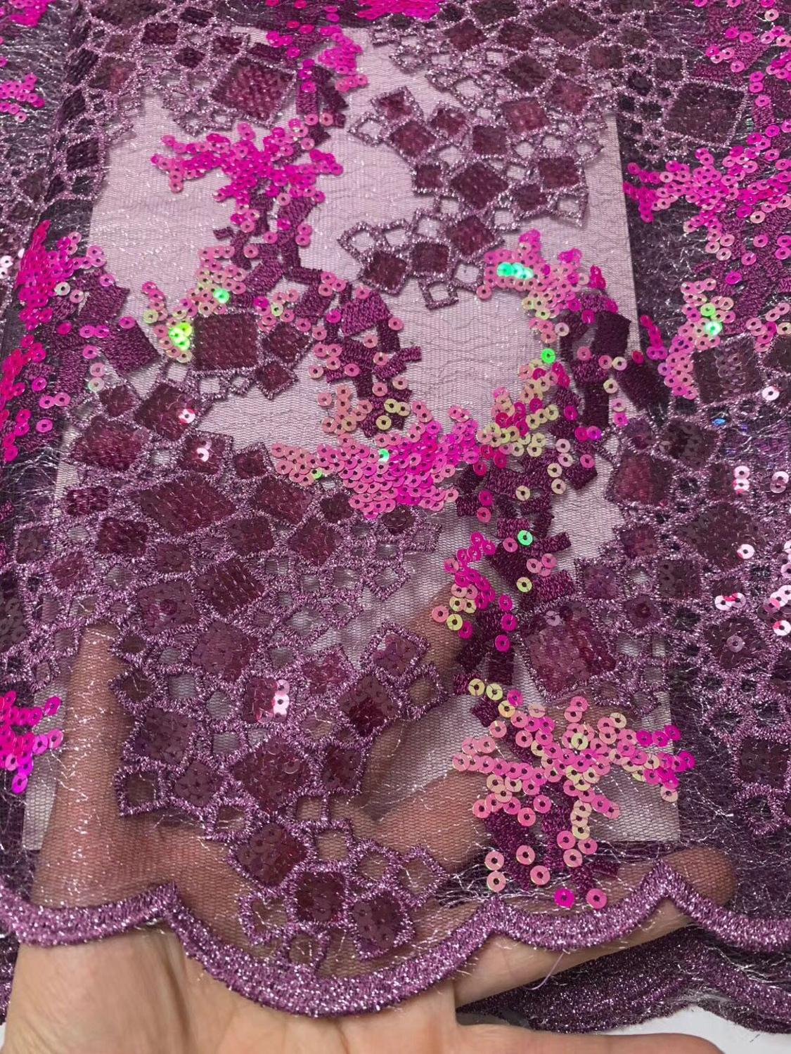 wow excellent Rich lace super shiny African French lace Nigerian garment clothes fabric with allover sequins