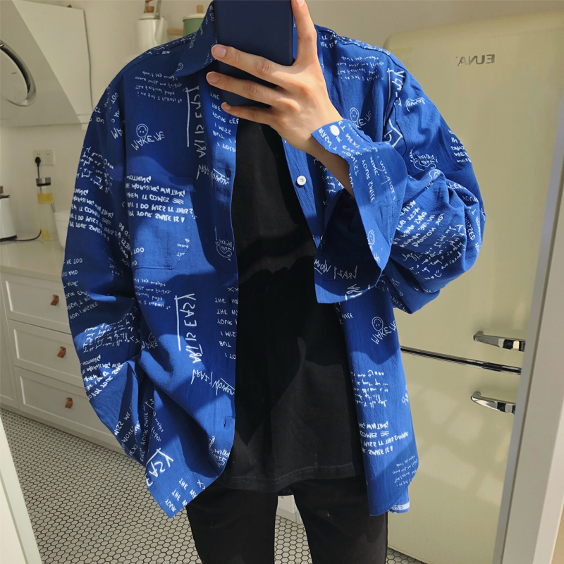 2018 Men's Cotton Clothes Letter Printing Loose Youth New High Quality Long Sleeves Fashion Trend Black/blue Shirts Size M-XL