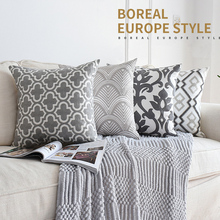 Серый вышитые декоративная подушка для дома Чехлы для дивана кресло 45х45 см Геометрическая в нордическом стиле цветочные холст хлопковая подушка для дивана случаях
