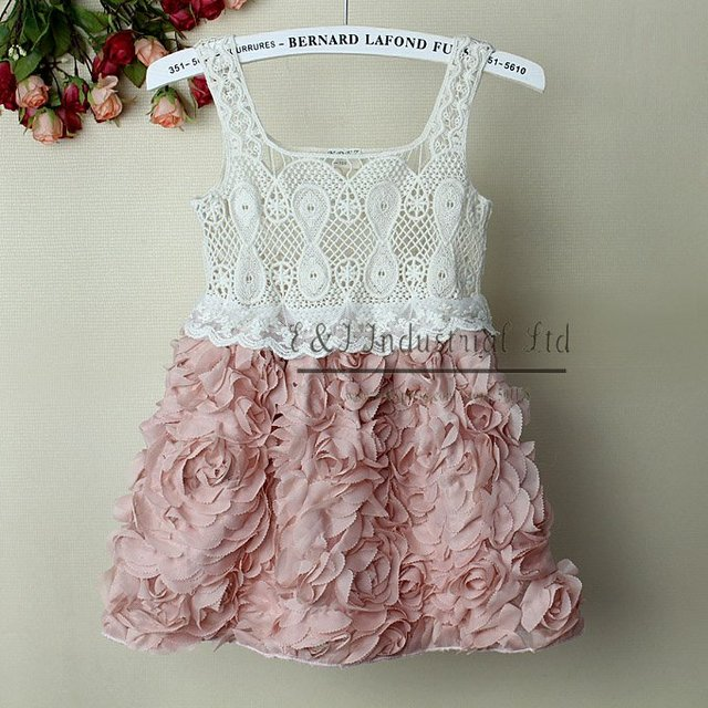 2015 Fashion Baby Girl Dresses Rose Children Pink Lace Flower Dress Princess Kids Desses 5PCS/LOTS GD21020-02^^EI Infant Dresses