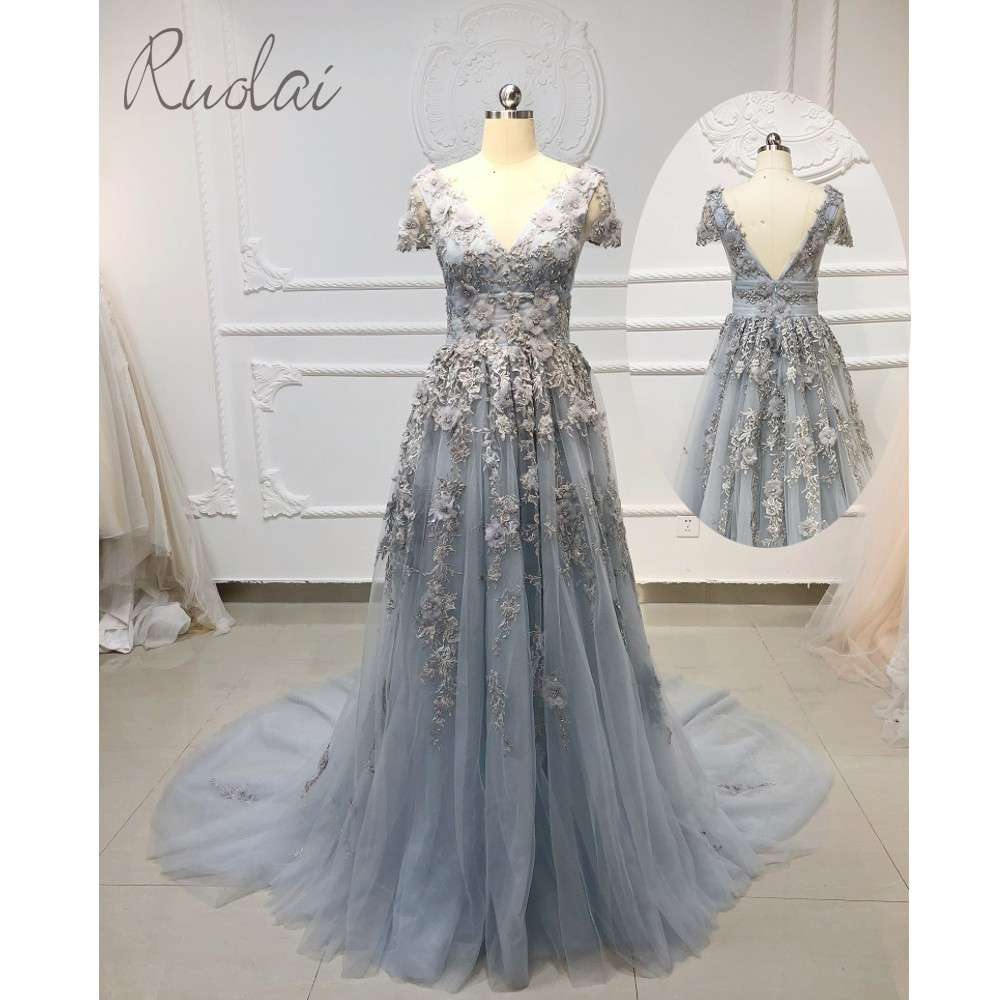 3D flowers pearls Long   Prom     Dresses   2019 Short Sleeve   Dress     Prom   Gown For Women Formal   Dress   vestidos de fiesta