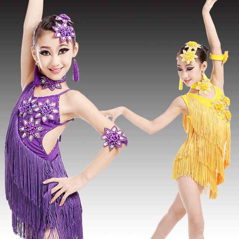 (10 Set) Children's Latin Dance Skirt Of Summer Tassel Flowers Costumes Girl's Costume Girls Tassel Suit Children's Performance