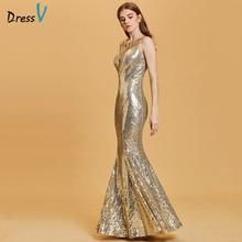 Dressv Narzisse lange Abendkleid billige U-Ausschnitt Pailletten Meerjungfrau Hochzeitsparty formelle Kleidung Trompete Abendkleider
