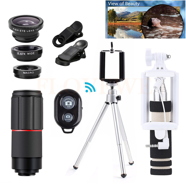 10in1 Phone Camera Lentes Wide Angle Macro Fisheye Lenses+Tripod+Telescope 8X Zoom Telephoto Lens For iPhone 4 5 6 S 7 Xiaomi LG
