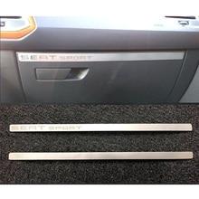 Одна деталь Нержавеющаясталь бардачке полосы декоративной отделкой Стикеры для Seat Leon FR MK3 2012-аксессуары автомобиль укладки