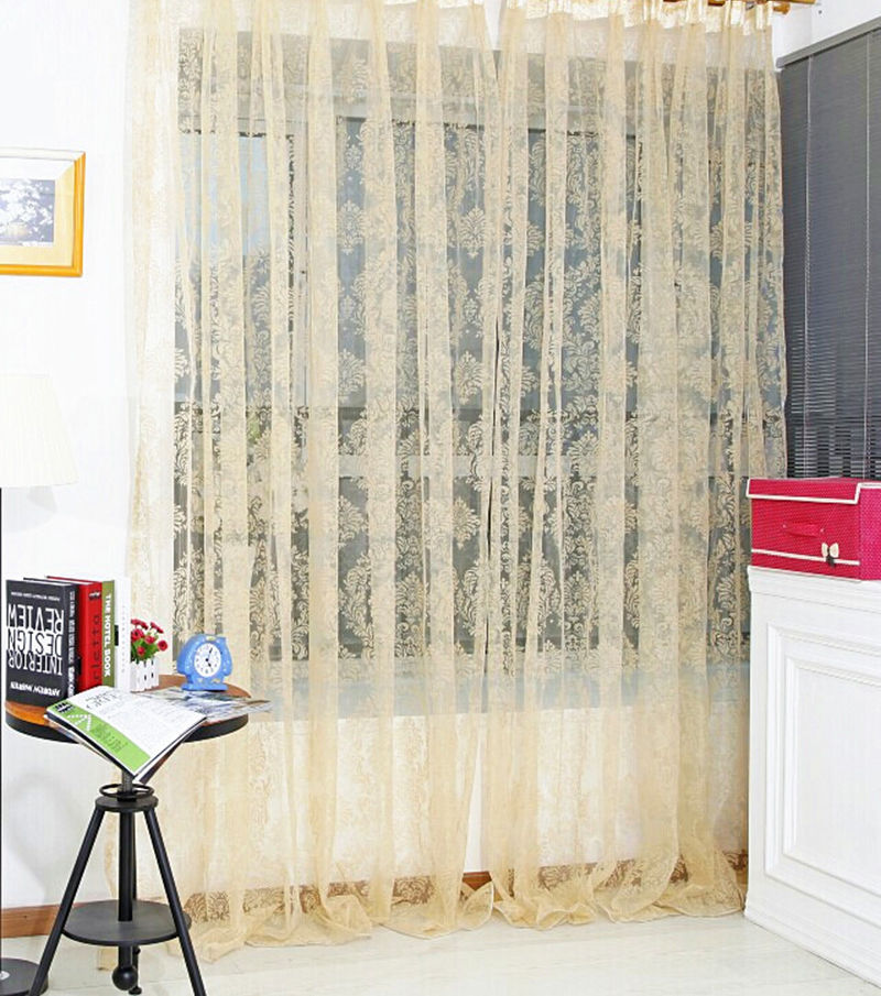 fashion soft tulle fabric fully lined curtain window screening for living room 100200cm