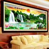 Needlework Diy Diamond Embroidery Crystal Bright Diamond Natural Landscape Painting Cross Stitch Waterfall Scenery Home Decor
