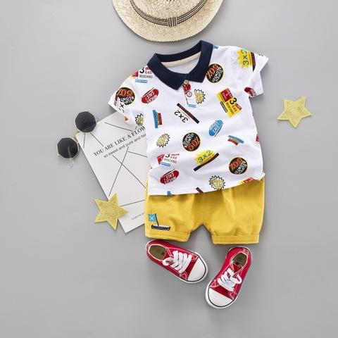 crianca menino roupas de verao meninos algodao turn down camiseta criancas menino conjunto t merda