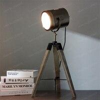 Винтаж из дерева ручной работы держатель Алюминий металлический абажур светодиодный настольные лампы современный проектор стол светильни
