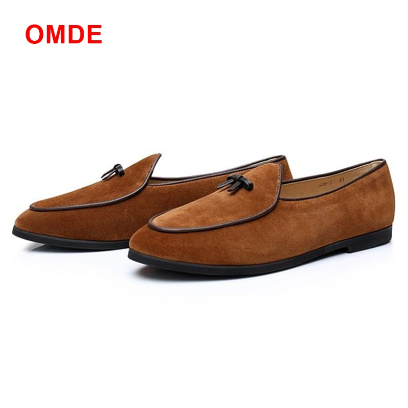 OMDE New Arrival Cow Suede Loafers Men Fashion Handmade Driving Shoes Italian Mens Casual Shoes Slip-ons Men Prom Shoes new arrived royal blue rhinestone mens loafers luxury fashion slip on men suede shoes handmade men s wedding and prom shoes